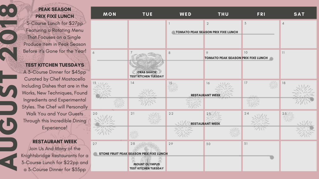 August Upcoming Events Calendar